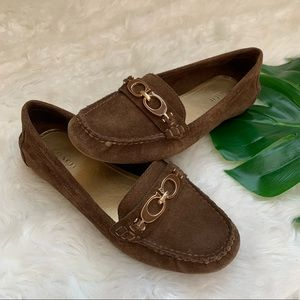 COACH Fortunata suede loafer driving brown 6.5